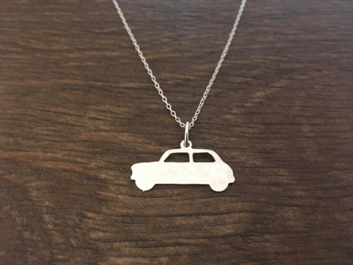 Mini car pendant sterling silver handmade by saw piercing
